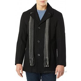 Cole Haan Men's Melton Wool Car Coat with Scarf