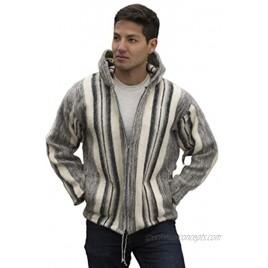 Gamboa Alpaca Jacket for Men Alpaca Hooded Cardigan Gray and White