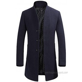 Mens Stylish Woolen Overcoat Slim Fit Mid Long Stand Collar Warm Trench Coat