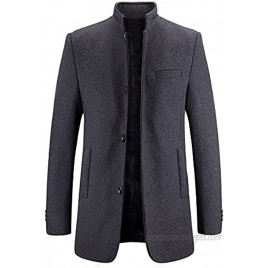 Mens Wool Coat Thick Long Trench Jacket