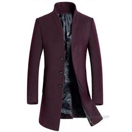 PASOK Men's Wool Trench Coat Slim Overcoat Business Down Jacket Winter Topcoat