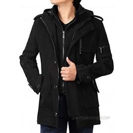 YFFUSHI Mens Winter Warm Men's Business Woolen Trench Jacket Overcoat Hooded Pea Coat