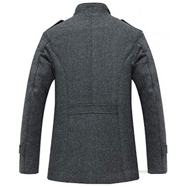 ZENTHACE Men's Winter Wool Blend Pea Coat Single Breasted Military Peacoat Jacket