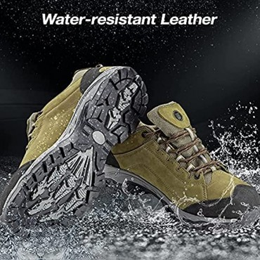 Night Cat Hiking Boots for Men Waterproof Breathable Skid Resistance Backpacking Shoes Leather Trekking Shoe Comfortable Perfect Grip for Outdoor Size 8 to 12