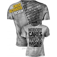 Actizio Sweat Activated Funny Motivational Workout Shirt Nobody Cares Work Harder