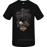 Harley-Davidson Military Men's Skull Eagle Graphic Black T-Shirt RAF Mildenhall | Eagle Fury
