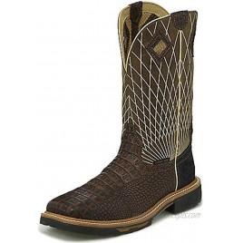 Justin Men's Derrickman Croc Print Western Work Boot Composite Toe Cognac 9 D